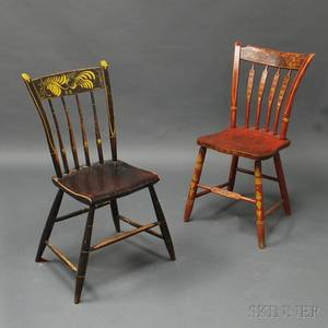 Two Painted Windsor Side Chairs