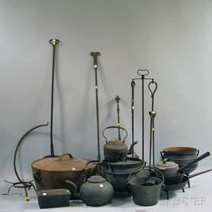 Approximately Seventeen Cast Iron Pots Accessories and Wrought Iron Tools