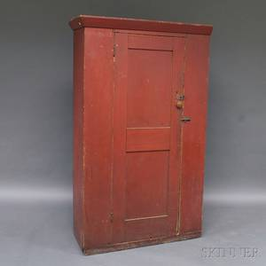 Redpainted Country Paneleddoor Cupboard