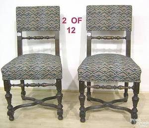 Set of 12 William  Mary style dining chairs