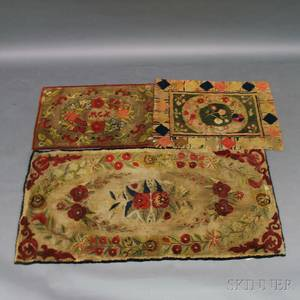 Three Floral Hooked Rugs