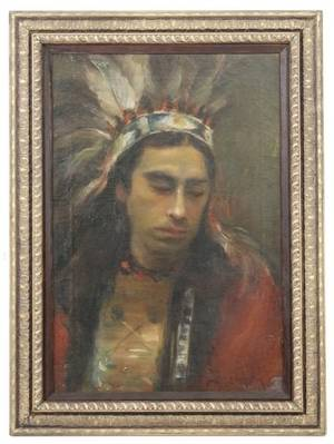 Early 20th C Portrait Native American Indian Man
