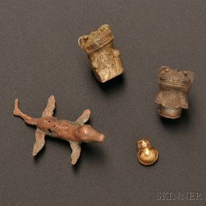 Four Cast Gold and Tumbaga Items