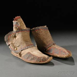 Pair of Apache Painted Hide Moccasins