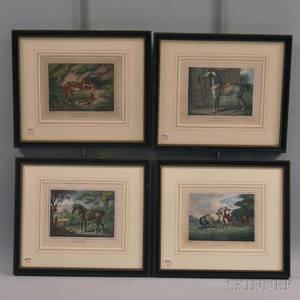 British School 19th Century Four Framed Hunting Prints After William Samuel Howitt c 17651822 The Racing Stallion The Hunter Bi