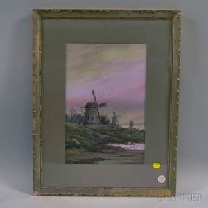 WF Dell American 19th20th Century Landscape with Windmill