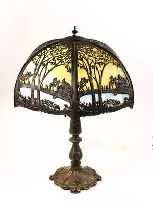 American Slag Glass Scenic Paneled Table Lamp