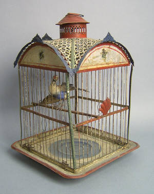 Polychromed painted tin bird cage late 19th c