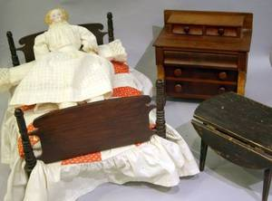 Three Pieces of Wooden Doll Furniture and Bisque Shoulderhead Doll