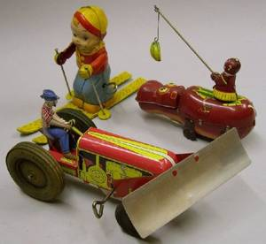 Three WindUp Lithographed Tin Toys