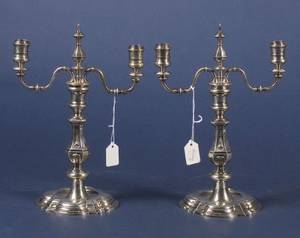 Pair of Continental Rococostyle Silver Candlesticks