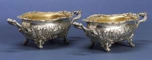Pair of German 800 Silver Rococo Revival Open Serving Dishes