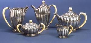 Austrian Art Deco Five Piece Silver Tea and Coffee Service