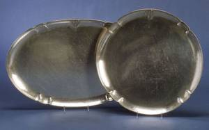 Two Arts  Crafts Hammered Sterling Platters