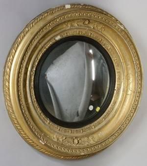 English Regency Giltwood Convex Mirror