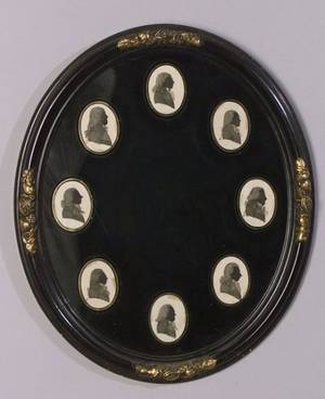 Framed Group of Eight Pen and Ink Portrait Medallions