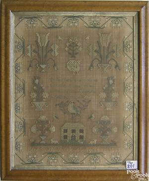 Silk on linen needlework dated 1833 wrought by Ann Smith