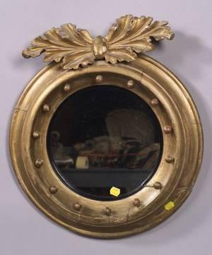 Small Regency Giltwood Convex Mirror