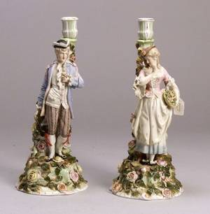 Pair of Dresden Porcelain Floral Encrusted Figural Candlesticks
