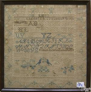 Pennsylvania silk on linen needlework dated 1818 wrought by Elizabeth Shuster