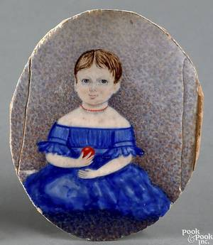 American miniature watercolor on ivory oval portrait of a young girl early 19th c