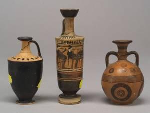 Three Ancient Greek Painted Vases