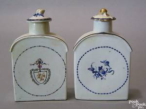 Two Chinese export porcelain tea caddies late 18th c