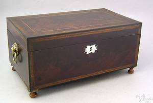 Regency mahogany inlaid tea caddy early 19th c