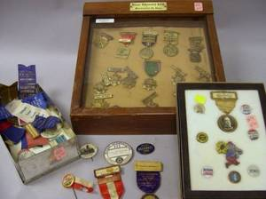 Collection of Political Pins Convention Badges and NRA Medals