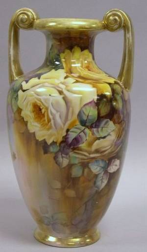 Noritake Handpainted Rose Decorated Porcelain Vase