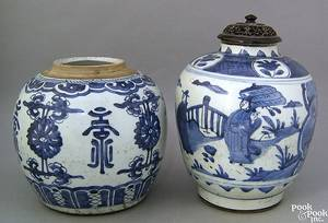 Two Chinese export porcelain ginger jars 19th c 8 h and 9 14 h together with a blue and white export bowl 5 14 h 10 34 dia