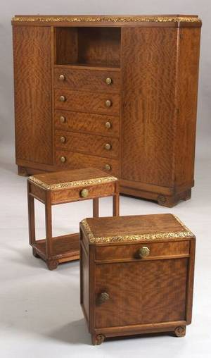 Louis Majorelle Art Deco Parcelgilt Carved Mahogany and Fruitwood Veneer Wardrobe and Two Side Tables