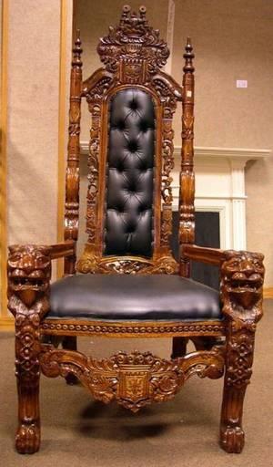 Renaissancestyle Upholstered Carved Hardwood Tallback Armchair