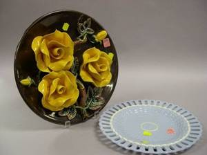 Portuguese Palissey Ware Style Majolica Floral Plaque and a Wedgwood Blue Serving Dish