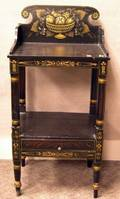 Black Painted and Stencil Decorated Washstand