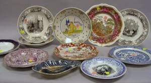 Seven Assorted Transfer Decorated Plates a Tray and Two Soup Bowls a Faience Plate and a Japanese Porcelain Plate