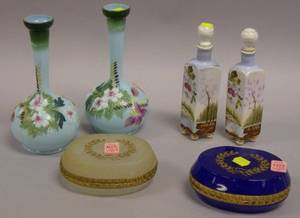 Pair of Opaline Glass Bottles Two Glass Trinket Boxes and a Pair of Floral Decorated Bristol Glass Scent Bottles