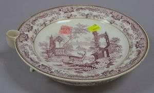 English Magenta Scenic Transfer Decorated Staffordshire Warming Plate