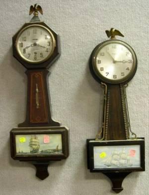 Gilbert Birch Banjo Wall Clock and a Sessions Mahogany Wall Clock