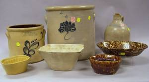 Nine Stoneware and Ceramic Items