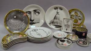 Thirtyfive Pieces of Fornasetti Transfer Decorated Porcelain and Four Jean Cocteau Designed Transfer Decorated Porcelain Plates