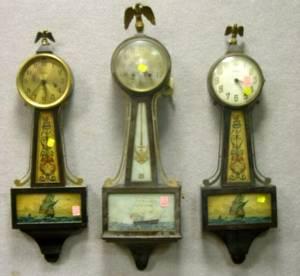 Pair of Ingraham Mahogany Nautical Banjo Wall Clocks and a Seth Thomas Nautical Banjo Wall Timepiece