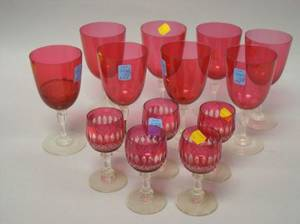 Five Ruby CuttoClear Glasses and a Set of Seven Cranberry Glass Wines