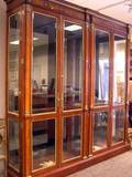 Pair of Neoclassical Brass Mounted Cherry and Burl Veneer Display Cabinets
