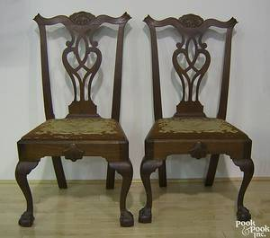 Pair of Philadelphia Chippendale walnut dining chairs ca 1770