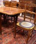 French Provincialstyle Carved Oak and Parquetry Extension Dining Table and Six Chairs