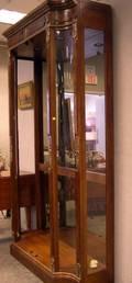 Henredon Neoclassical BrassMounted Mahogany and Burl Veneer Display Cabinet