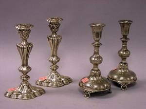 Pair of Reed  Barton Sterling Silver Candlesticks and a Pair of Polish Silver Plated Candlesticks