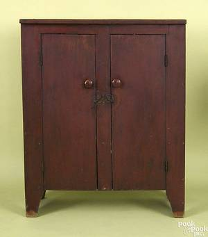 New England painted pine wall cupboard earlymid 19th c