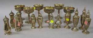 Set of Six Reed  Barton Sterling Silver Champagne Glasses Two Pairs of Sterling Silver Casters and Two Sets of Four Sterling Casters